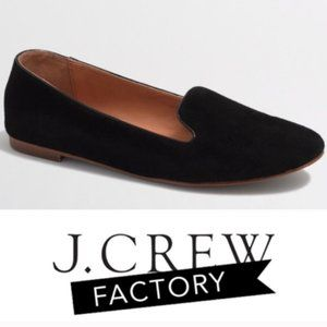 J. Crew Factory Cora Black Suede Smoking Loafer